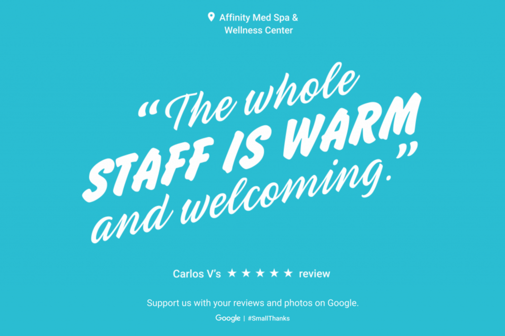 Google Review for Affinity #smallthanks